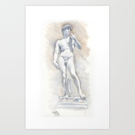Michaelangelo's Sculpture of David, watercolour Art Print