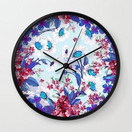 Cool blue floral garland texture Wall Clock