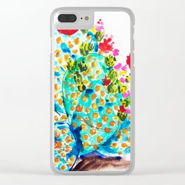 Blue Cactis Clear iPhone Case