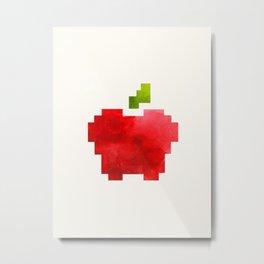 Red Macintosh Apple Watercolor Painting Pixel Digital Art Geometric Fruit Vector Metal Print