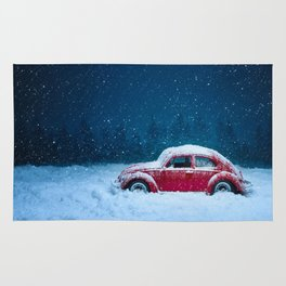 Winter Storm Red Car Rug