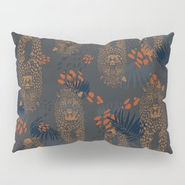 Midnight Leopard - Navy and orange Leopard and Palm pattern Pillow Sham