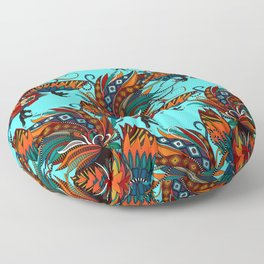 rooster ink turquoise Floor Pillow