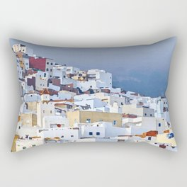 Spectacular view of Tetouan Morocco, watercolor painting of a tourist town, vacation clip art Rectangular Pillow