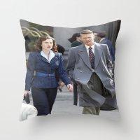 agent carter Throw Pillows featuring Jack Thompson & Peggy Carter - Agent Carter. by agentcarter23