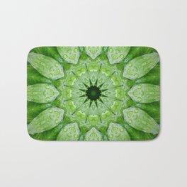 Green Mandala, heart chakra, nature sacred geometry rain drops leaves Bath Mat