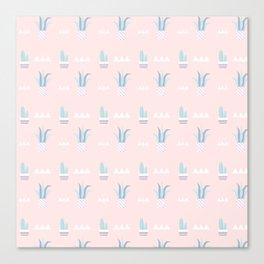 Blush pink blue white summer cactus modern floral Canvas Print
