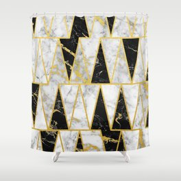 Mixed Marble Triangles // Gold Flecked Black & White Marble Shower Curtain