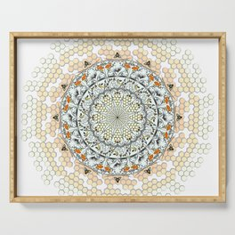 Overlapping Bee Mandala (Color) Serving Tray
