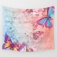 butterflies Wall Tapestries featuring butterflies by haroulita