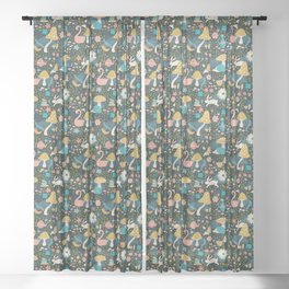 Wondering in Wonderland - Blue + Gold Sheer Curtain