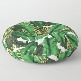 Swaying banana leaf palm green Floor Pillow