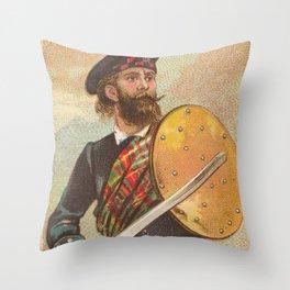 Vintage Scottish Warrior Illustration (1887) Throw Pillow