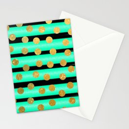 NL 9 9 Turquoise Gold & Black Stationery Cards