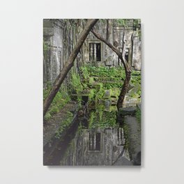 Cambodian Reflection - Beng Melea Temple Metal Print