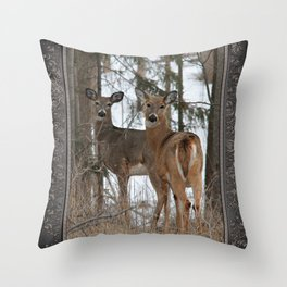 White-Tailed Deer in Winter Throw Pillow