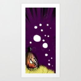 Purple Pumpkin Ghosts Art Print