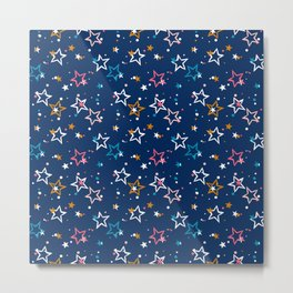Night sky with colorful stars and dots on blue background Metal Print