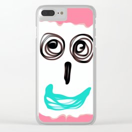 funny face with pink background and blue lip Clear iPhone Case