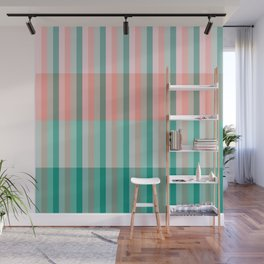 Soft Pink Peach Amber Yucca and Arbor Green Transluscent Stripes Wall Mural