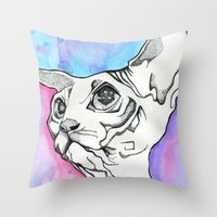 psych Throw Pillows featuring Psych Sphinx by Szilvia Lucas