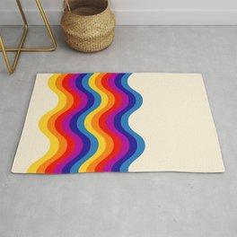 Wavy retro rainbow Rug