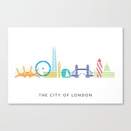 London Skyline White Canvas Print