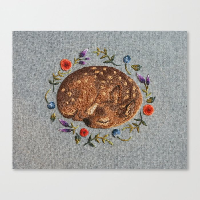 Sleeping Fawn Canvas Print