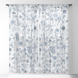 Watercolor florals in blue Sheer Curtain