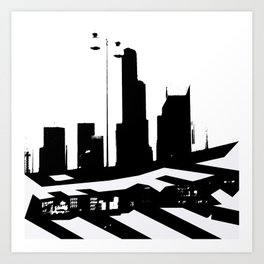 City Scape in Black and White Art Print