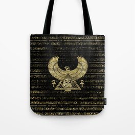 Egyptian Eye of Horus - Wadjet Gold and Black Tote Bag