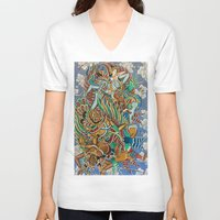 batik V-neck T-shirts featuring Batik Wayang by tanduksapi