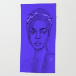 Joan in purple Beach Towel