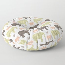 Brown Pink and Green Elephant Silhouette Seamless Floor Pillow