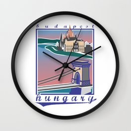 Budapest, Bridge, vintage colors Wall Clock