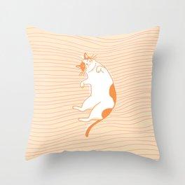 Abstraction_CAT_SWEET_DREAM_LINE_ART__Minimalism_001 Throw Pillow