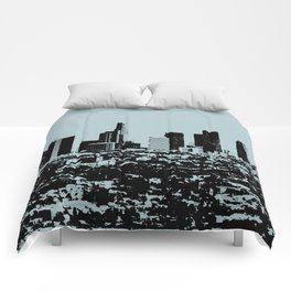 Downtown Los Angeles Skyline - Stamp Pattern on Light Blue Comforters