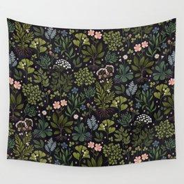 Herbarium ~ vintage inspired botanical art print ~ black Wall Tapestry