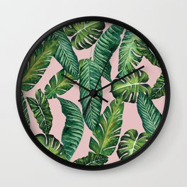 Jungle Leaves, Banana, Monstera II Pink #society6 Wall Clock
