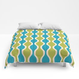 Classic Retro Ogee Pattern 852 Turquoise and Olive Comforters