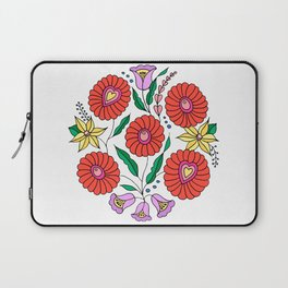 Hungarian embroidery inspired pattern white Laptop Sleeve