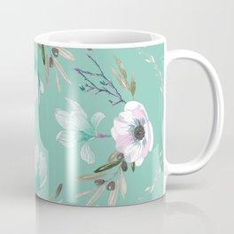 Floral Square Green Coffee Mug