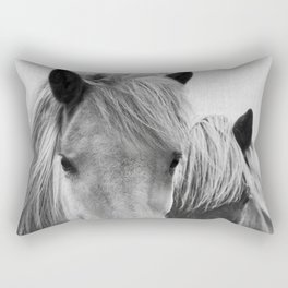 Horses - Black & White 7 Rectangular Pillow