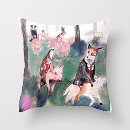 Pig riders Throw Pillow