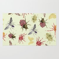 insects Area & Throw Rugs featuring Insects by Stag Prints