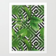 Tropical palm leaves on the geometric background Art Print