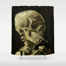 Skull of a Skeleton with Burning Cigarette by Vincent van Gogh Shower Curtain