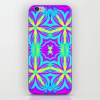 psychedelic art iPhone & iPod Skins featuring psychedelic Floral Fuchsia Aqua by 2sweet4words Designs