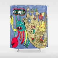 downton abbey Shower Curtains featuring Downton Crabbey by Amy Gale