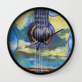Guitar and Clouds Wall Clock
